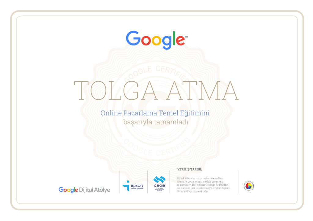 Digital Garage Online Marketing Certificate Tolga Atma